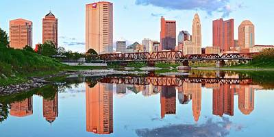 Bright Columbus Sky And Reflection Print by Frozen in Time Fine Art Photography