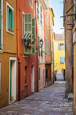 Bright Houses On Old Street In Villefranche-sur-mer Print by Elena Elisseeva
