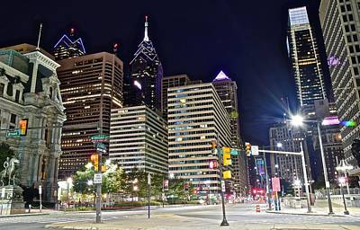 Philadelphia Skyline Photograph - Bright Lights In Philly by Frozen in Time Fine Art Photography