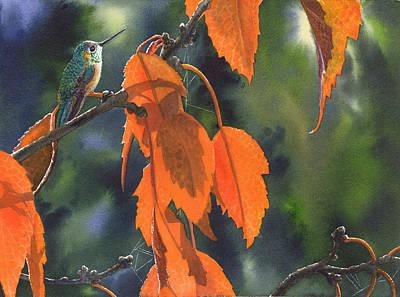 Hummingbird Painting - Bright Orange Leaves by Catherine G McElroy