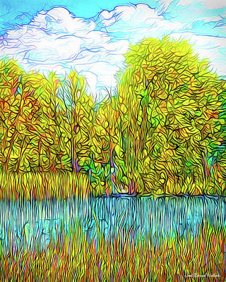 Trippy Digital Art - Bright Pond Moment - Lake In Boulder County Colorado by Joel Bruce Wallach