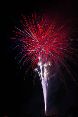 Bright Red Fireworks Print by Garry Gay