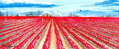 Tulip Festival Painting - Bright Red Tulips Of Skagit County by Bob Patterson