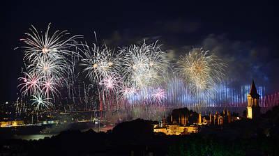 Bright Republic Day Fireworks On The Bosphorus With Bridge Light Print by Reimar Gaertner