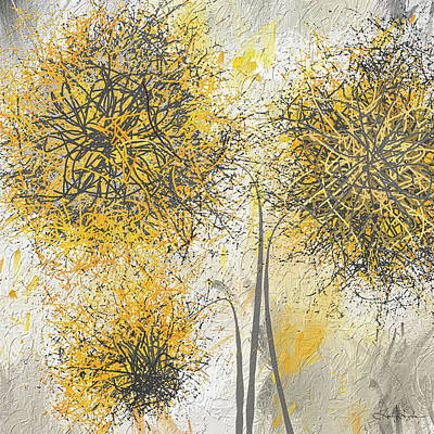 Golden Painting - Brighter Blooms - Yellow And Gray Modern Artwork by Lourry Legarde