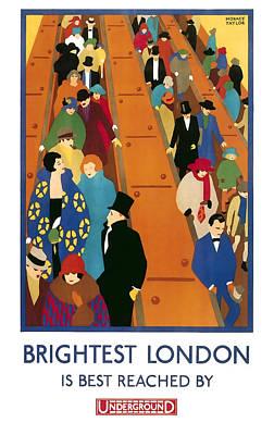 London Tube Digital Art - Brightest London By Underground 1924 by Daniel Hagerman