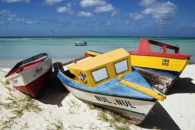 Aruba Photograph - Brightly Painted Fishing Boats Aruba by George Oze