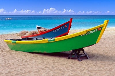 Brightly Painted Fishing Boats On A Caribbean Beach Print by George Oze