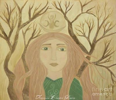 Beige Painting - Brigid Celtic Goddess by Sacred  Muse