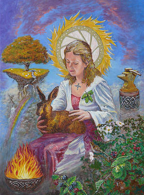 Celtic Art Painting - Brigid Goddess Celtic Goddess Of Fire by Tomas OMaoldomhnaigh