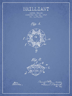 Brilliant Patent From 1919 - Light Blue Print by Aged Pixel