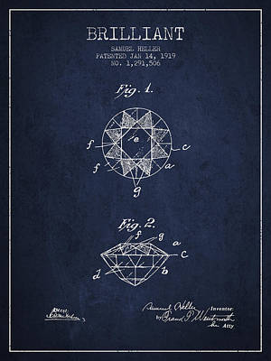 Brilliant Patent From 1919 - Navy Blue Print by Aged Pixel