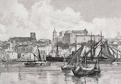Brindisi Italy The Harbour From The Print by Vintage Design Pics