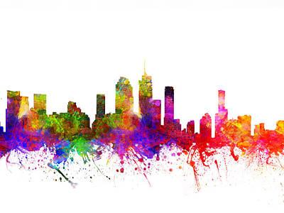 Australian Drawing - Brisbane Australia Cityscape 02 by Aged Pixel