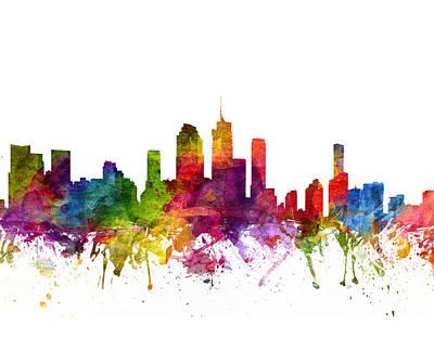 Australian Drawing - Brisbane Australia Cityscape 06 by Aged Pixel