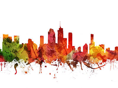 Australian Drawing - Brisbane Cityscape 04 by Aged Pixel