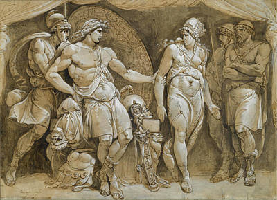 Drawing - Briseis Leaving Achilles' Tent by Giuseppe Cades