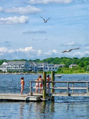Girl Photograph - Bristol Ri - Little Girls Watching Seagulls by Susan Savad