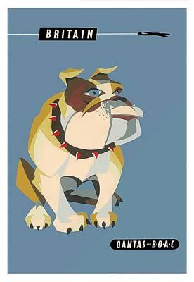 Boac Photograph - Britain Bulldog Vintage Airline Travel Poster By Harry Rogers by Retro Graphics
