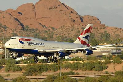 British Airways Boeing 747-436 G-civa Phoenix Sky Harbor October 26 2010 Print by Brian Lockett