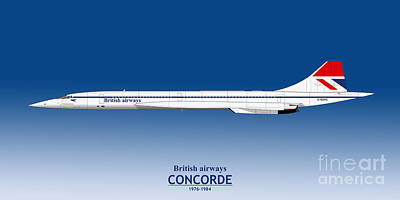 Airliners Drawing - British Airways Concorde 1976 To 1984 by Steve H Clark Photography
