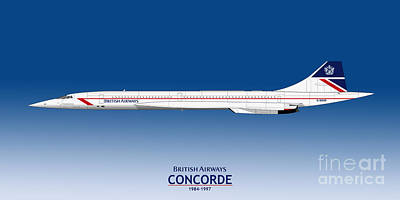 Airliners Drawing - British Airways Concorde 1984 To 1997 by Steve H Clark Photography