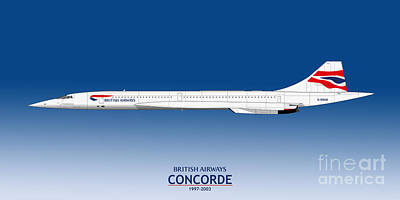 Airliners Drawing - British Airways Concorde 1997 To 2003 by Steve H Clark Photography