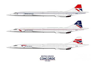 Airliners Drawing - British Airways Concordes 1976 To 2003 by Steve H Clark Photography