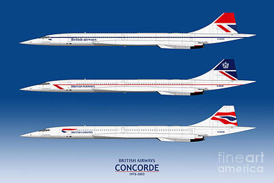 Airliners Drawing - British Airways Concords 1976 To 2003 by Steve H Clark Photography