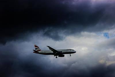 Lightning Photograph - British Airways Jet by Martin Newman