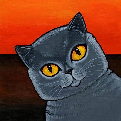 Fat Painting - British Shorthair by Leanne Wilkes