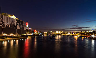 British Symbols And Landmarks - Silky River Thames At Night Complete With The Royal Family Print by Georgia Mizuleva