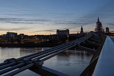 British Symbols And Landmarks - Silver Evening At The Millennium Bridge Print by Georgia Mizuleva