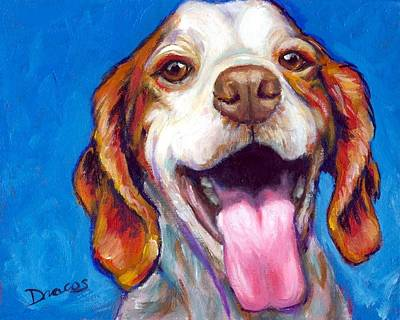 Brittany Spaniel Smiling Print by Dottie Dracos