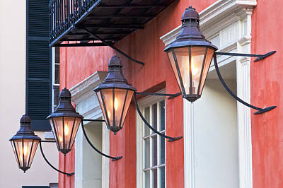 Ancient Architecture Print featuring the photograph Broad Street Lantern - Charleston Sc  by Drew Castelhano