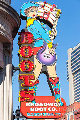 Broadway Boot Company Sign I Print by Clarence Holmes