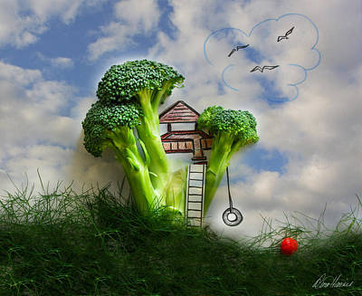 Broccoli Mixed Media - Broccoli Treehouse by Diana Haronis