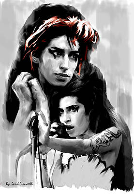 Album Covers Drawing - Broken Wings  Amy Winehouse by Iconic Images Art Gallery David Pucciarelli
