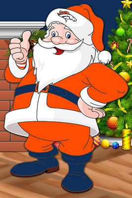 Broncos Santa Claus Print by Joe Hamilton