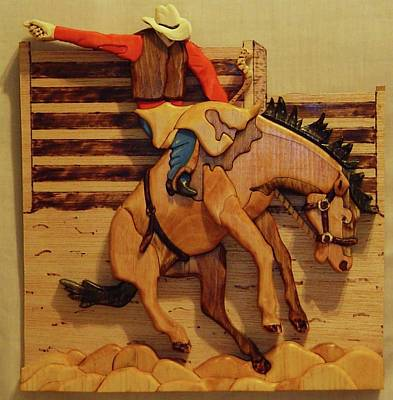 Intarsia Sculpture - Broncrider by Russell Ellingsworth