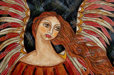 Christian Art . Devotional Art Painting - Bronze Angel by Rain Ririn
