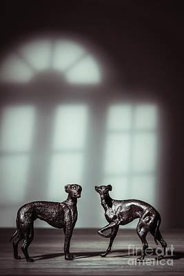 Bronze Greyhound Figures Print by Amanda Elwell