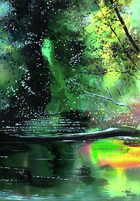 Abstract Beach Landscape Drawing - Brook by Anil Nene