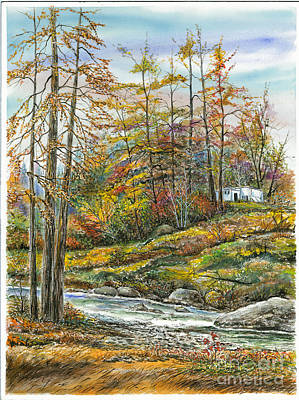 Brook In Autumn Print by Samuel Showman
