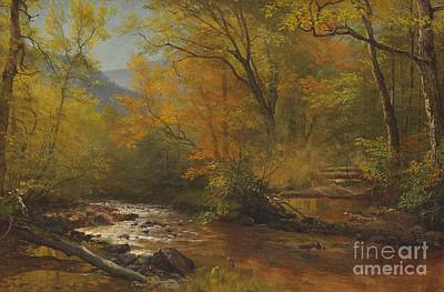 Falls Painting - Brook In Woods by Albert Bierstadt