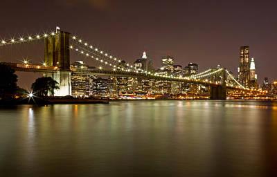 Black Russian Studio Photograph - Brooklyn Bridge At Night 10 by Val Black Russian Tourchin