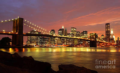Brooklyn Bridge At Night Print by Holger Ostwald