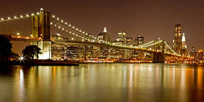 Nightlights Photograph - Brooklyn Bridge At Night Panorama 10 by Val Black Russian Tourchin