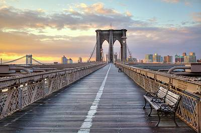 Benches Photograph - Brooklyn Bridge At Sunrise by Anne Strickland Fine Art Photography