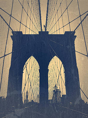 Brooklyn Bridge Blue Print by Naxart Studio
